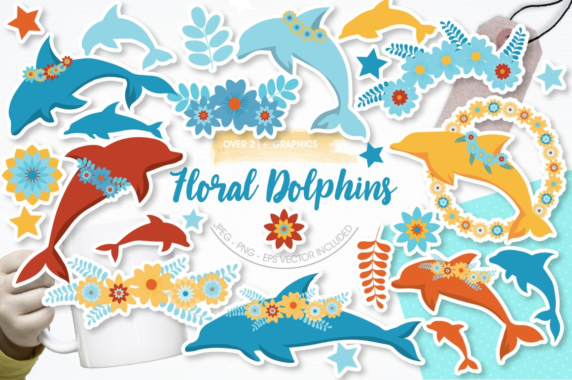 Floral Dolphins graphics and illustrations example image 1