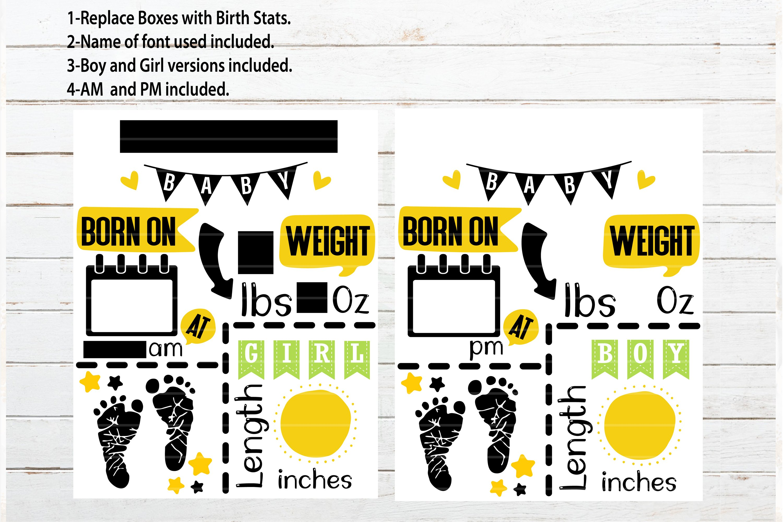 Feet Baby Announcement Chart Template Baby Stats Svg Pdf Dxf 572572 Cut Files Design Bundles