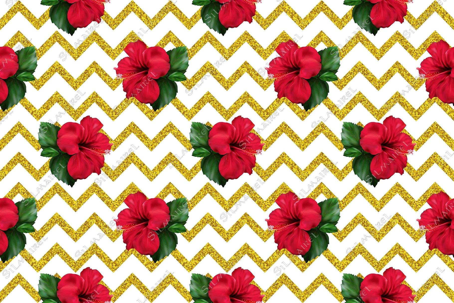 Hibiscus karkade flower glitter geometric seamless pattern example image 2