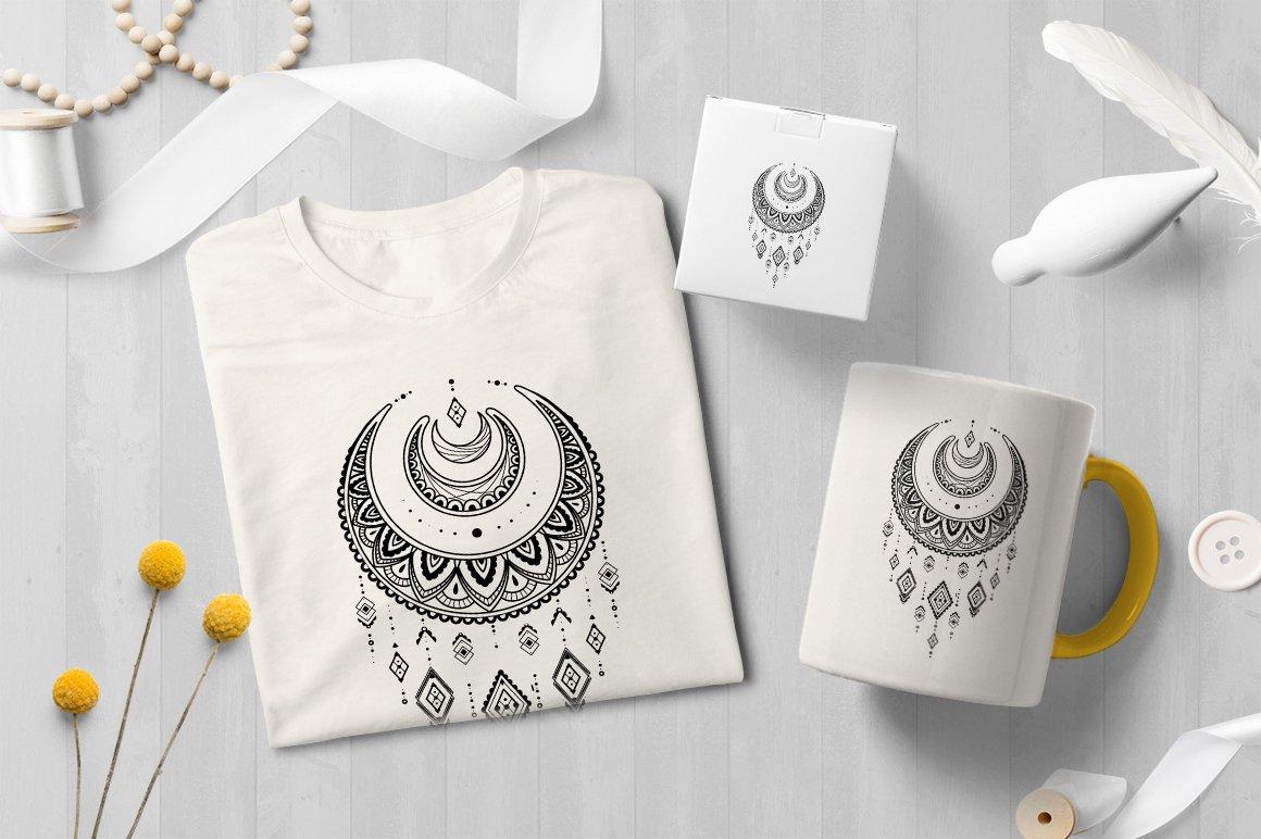 Dreamcatcher | Line art | Boho illustration example image 2