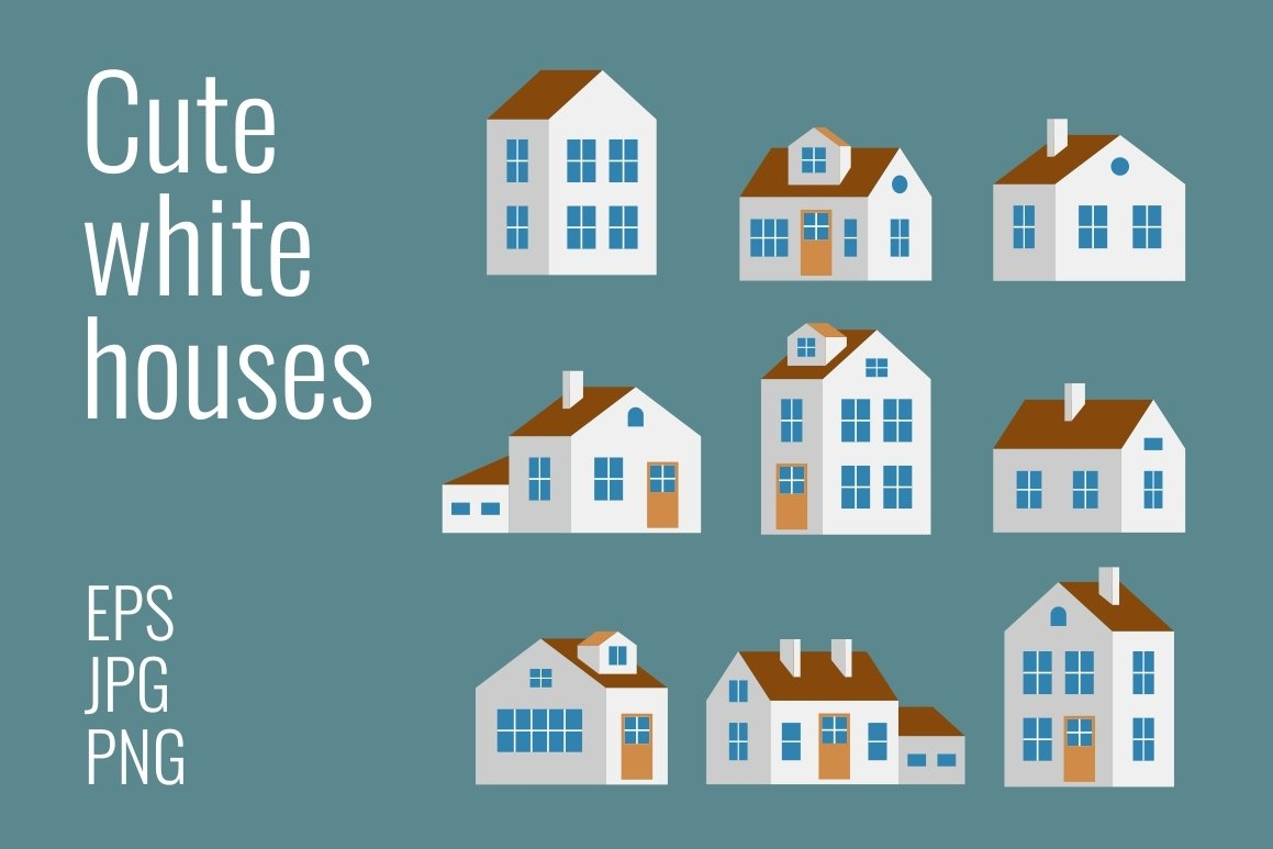 Small and big cute white houses example image 1