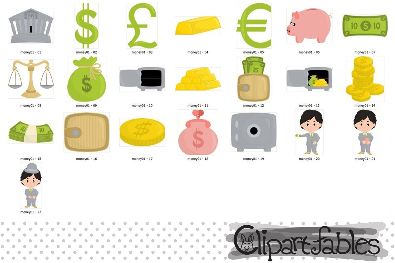 MONEY clipart, Cute piggy bank design, Banker caracters example image 2