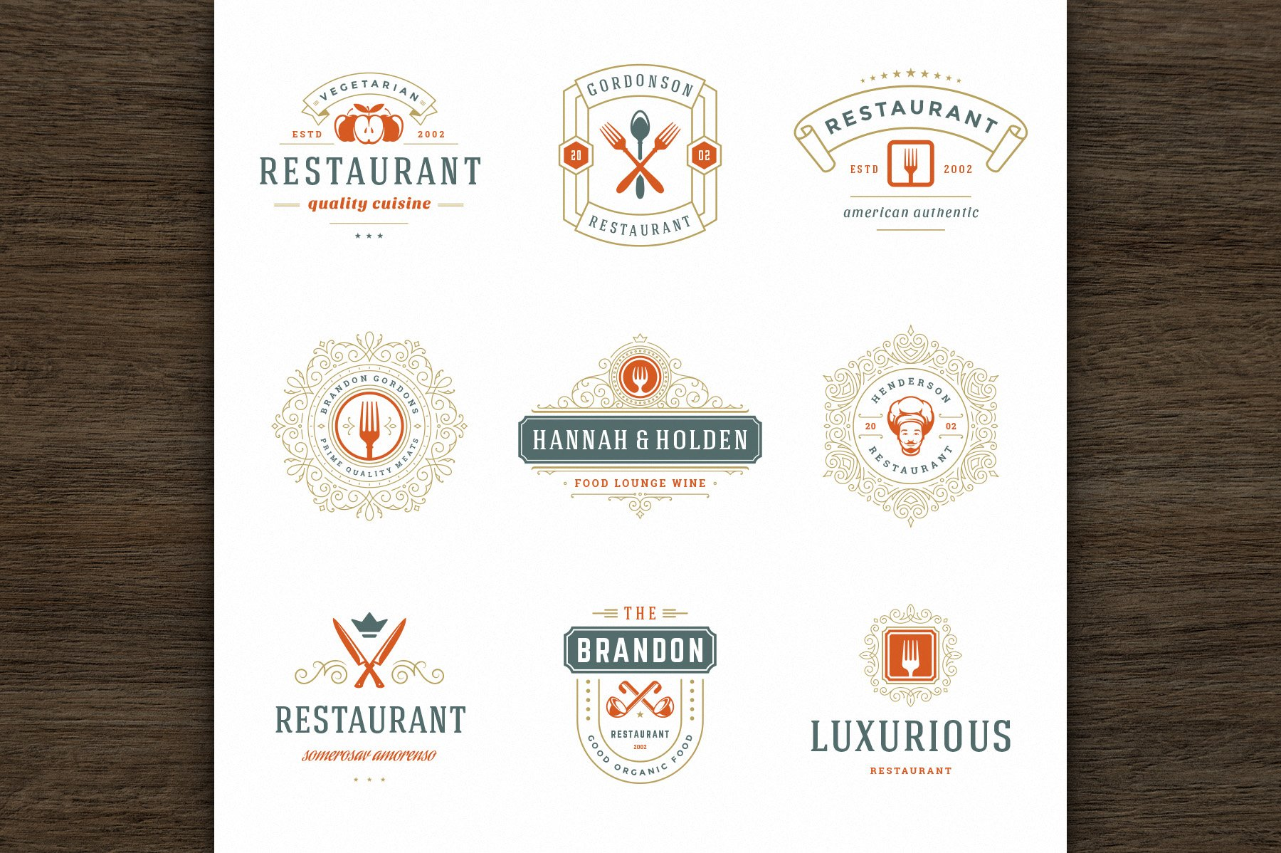 36 Restaurant Logos and Badges example image 9