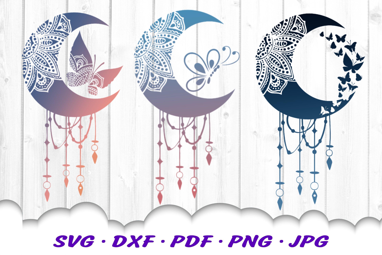 Mandala Moon Butterfly Dream Catcher SVG Cut Files Bundle example image 1