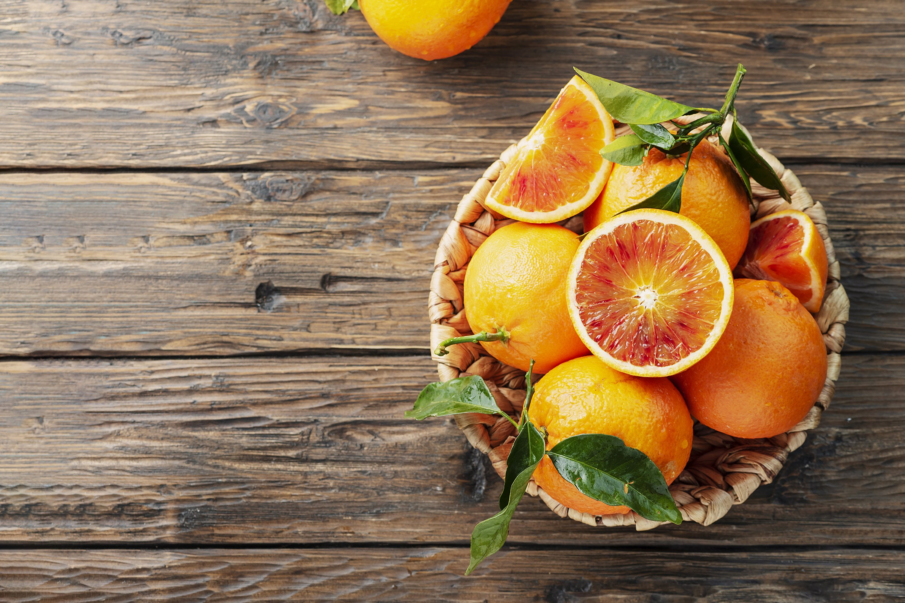 Sweet red oranges of Sicily in the basket, rustic style example image 1