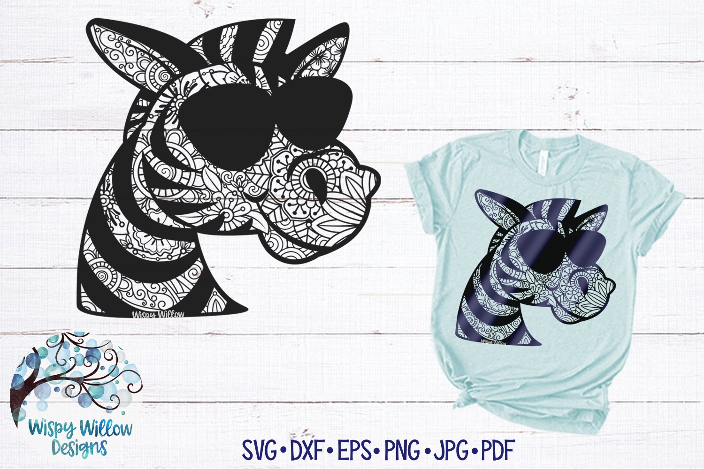 Download Zebra with Sunglasses Zentangle SVG   Zebra Mandala SVG ...