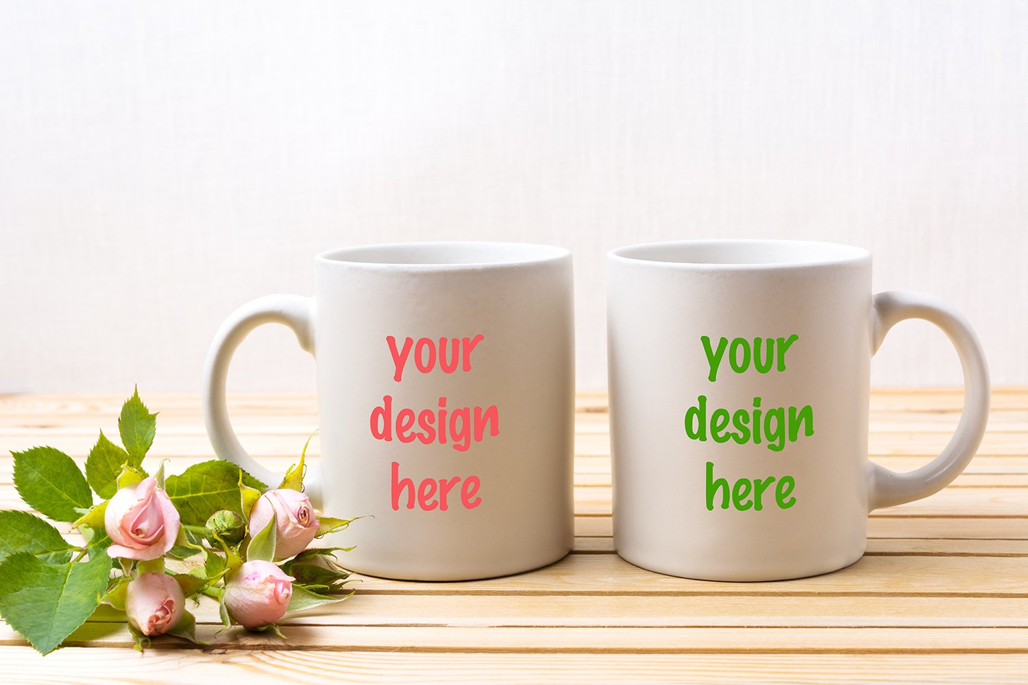 Two white coffee mug mockup with tender pale pink roses example image 1