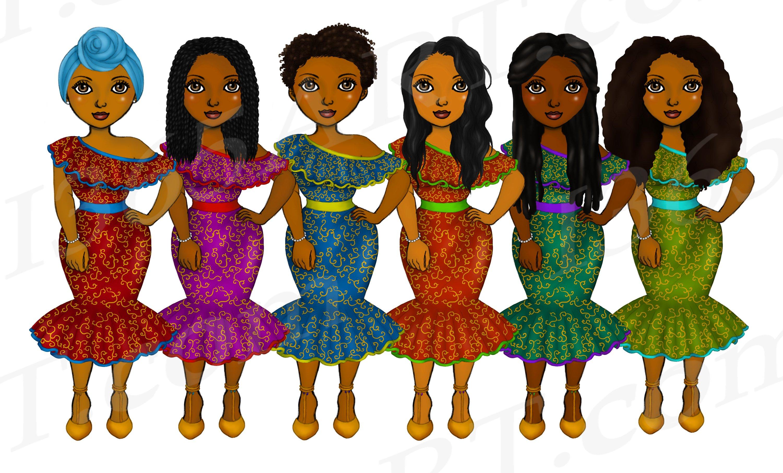 Beautiful Ankara Clipart Black Girl African Natural Hair PNG example image 3