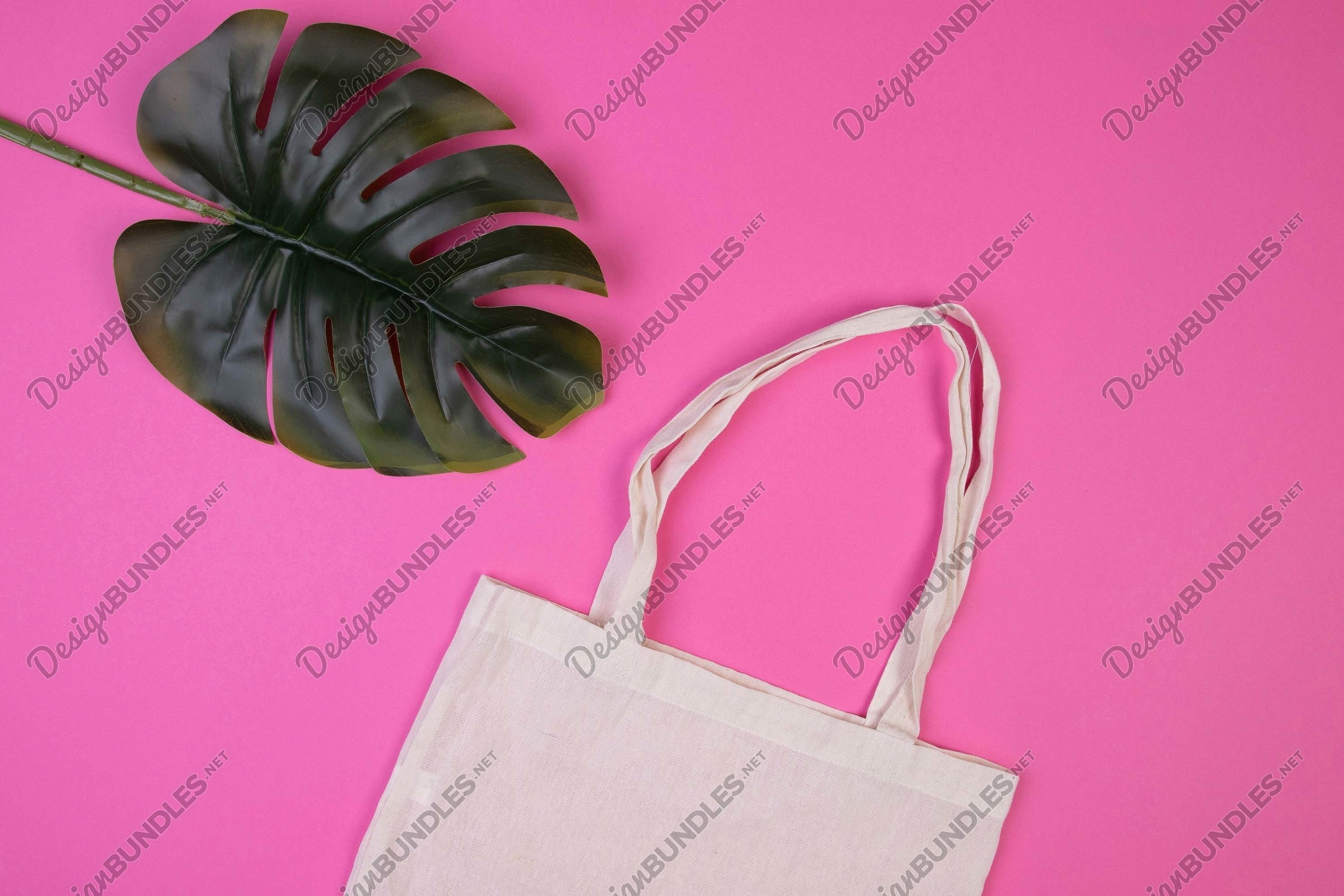 Stock Photo - Eco bag and palm leaves on color background example image 1