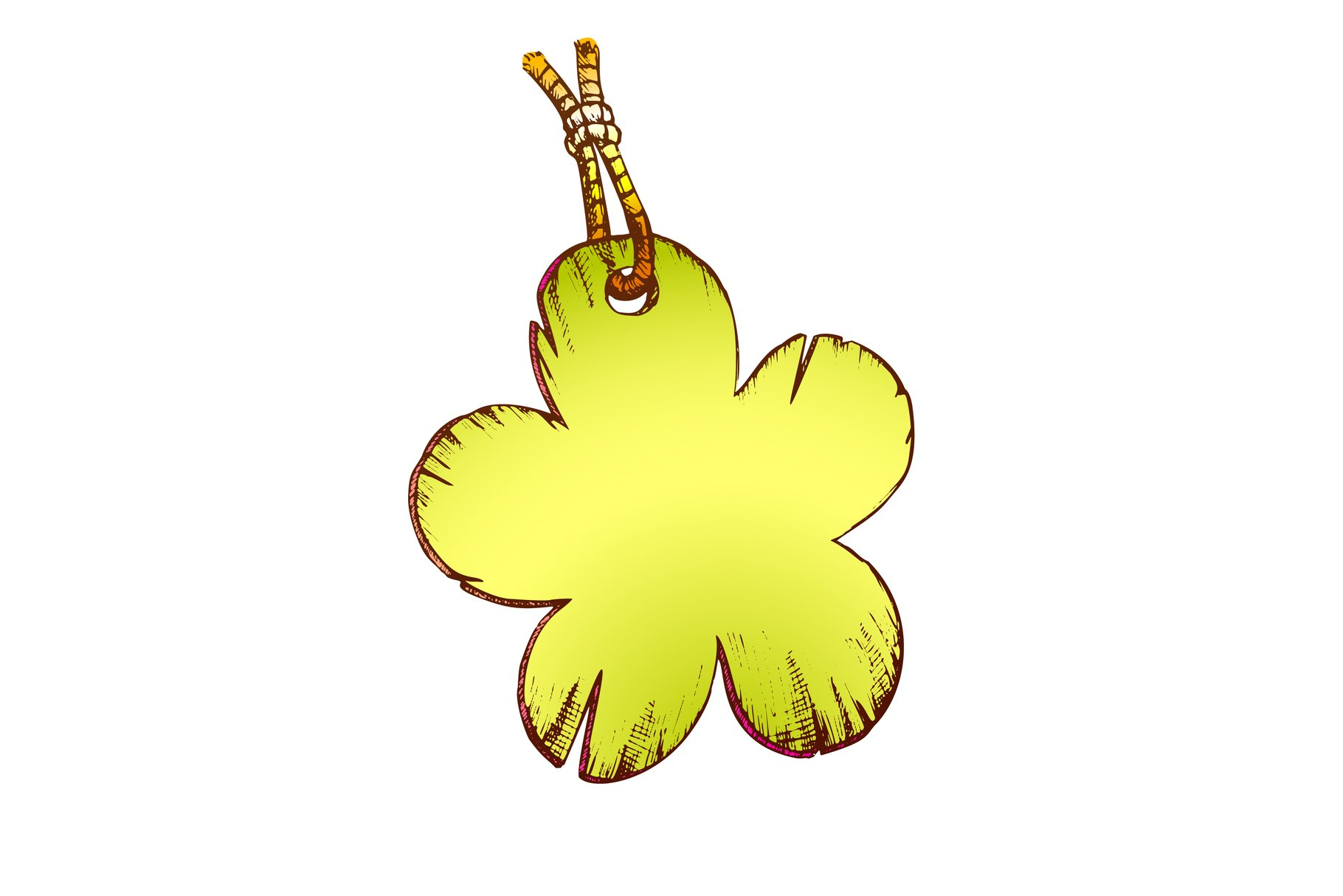 Label In Flower Form Hanging On Rope Color Vector example image 1