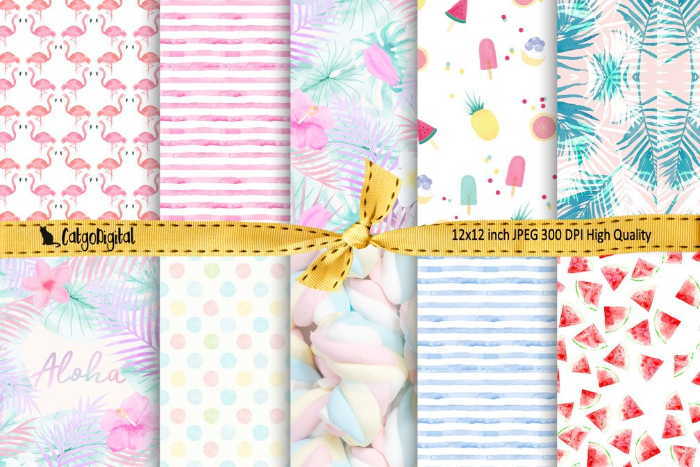 Pastel Summer Digital Papers Background Papers Scrapbooking example image 1