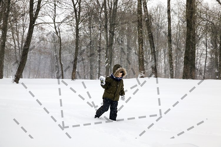 Boy winter snowball game. example image 1