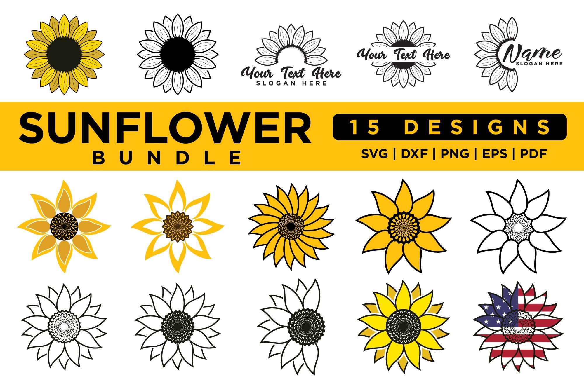 Sunflower SVG Bundle Vol.3 example image 1