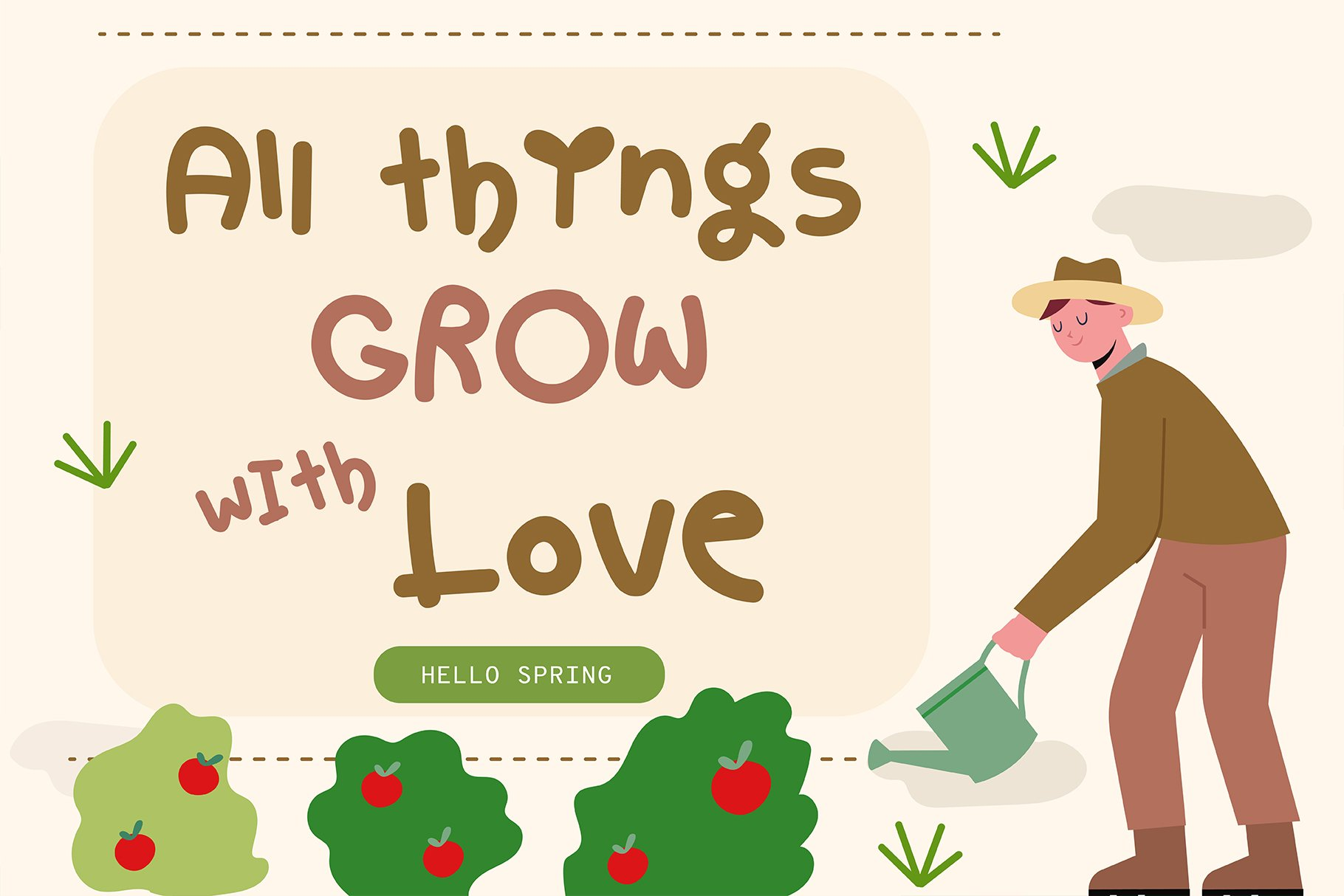 Hello spring Handwritten- Cute Baby font Kawaii style! example image 4