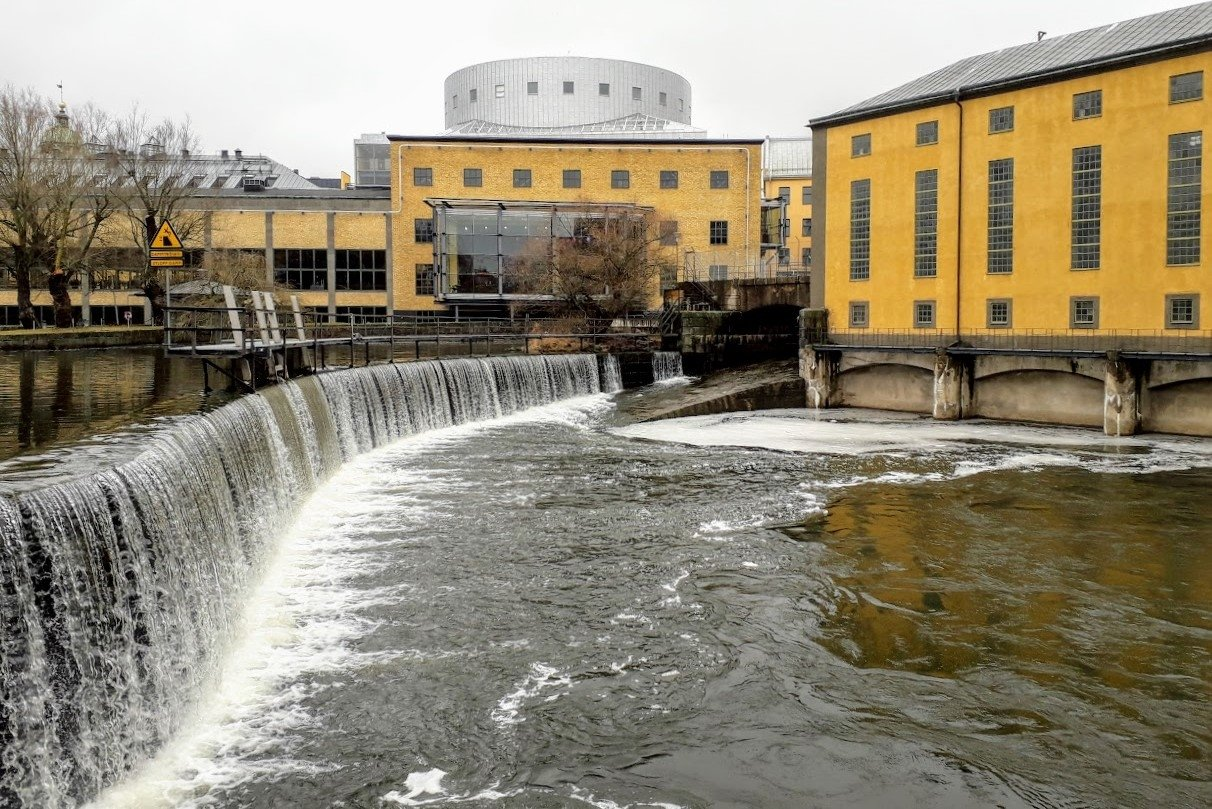 Waterfall in Industrial Landscape Norrköping Sweden example image 1