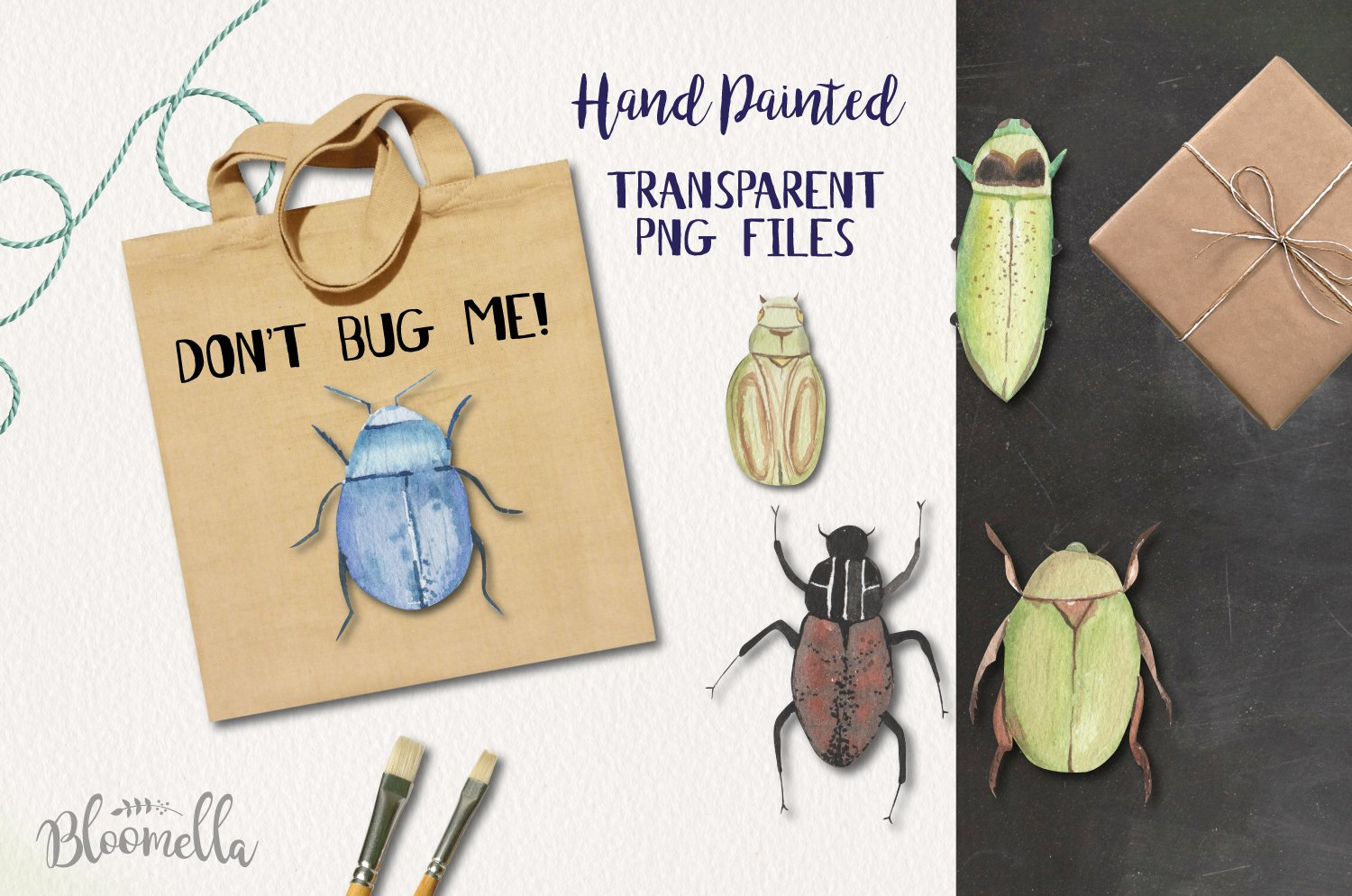 Fun Beetle Watercolor Elements Bug Icons Pretty example image 2