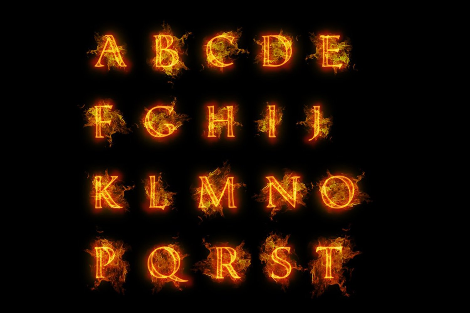 Fire font. Burning letters alphabet example image 5