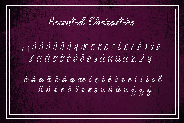 Sangria Silk - an outline script font example image 4