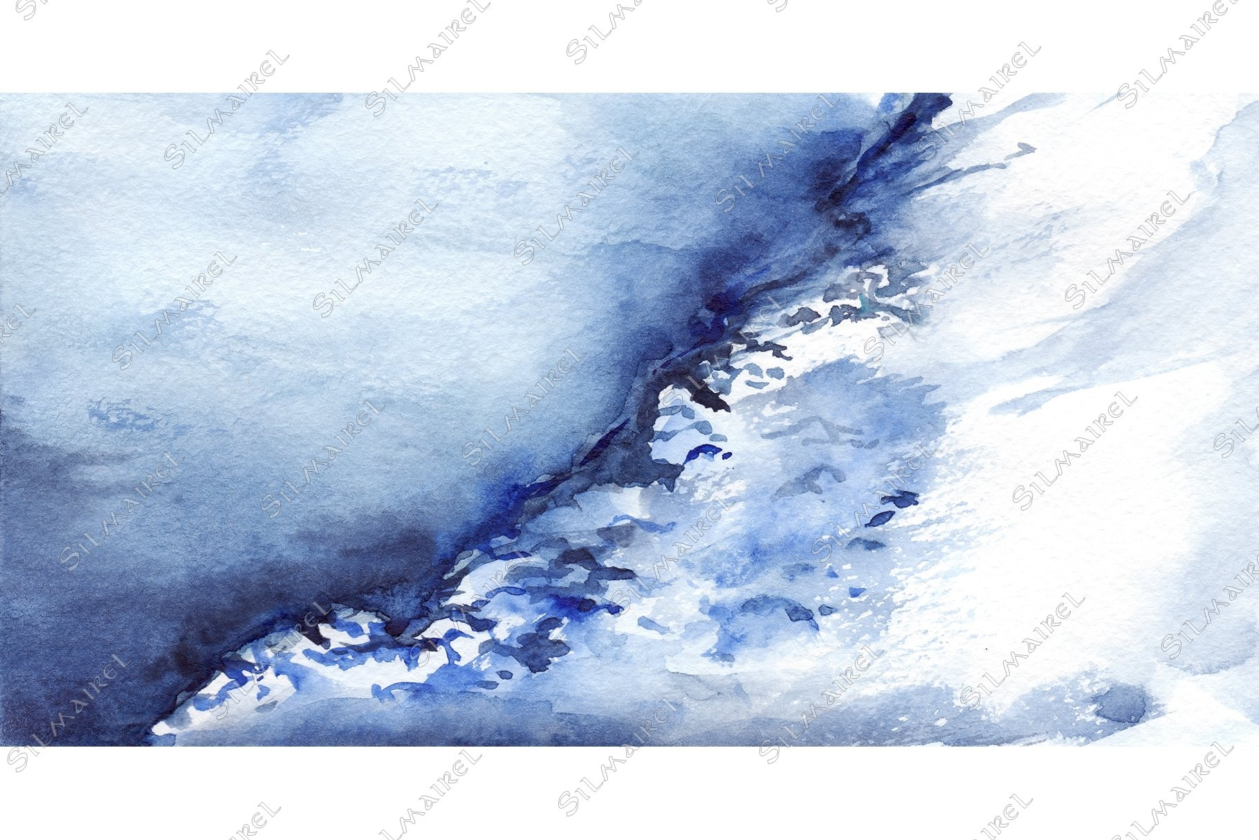 Watercolor winter ice snow frozen lake landscape example image 1