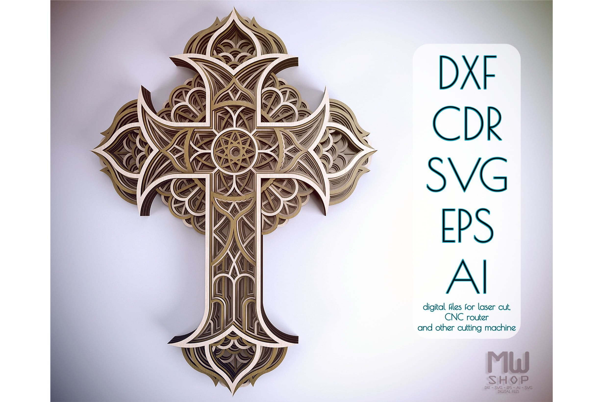 Download Cr03 Multilayer Cross Laser Cut Cross Cricut Cross Svg 578854 Paper Cutting Design Bundles