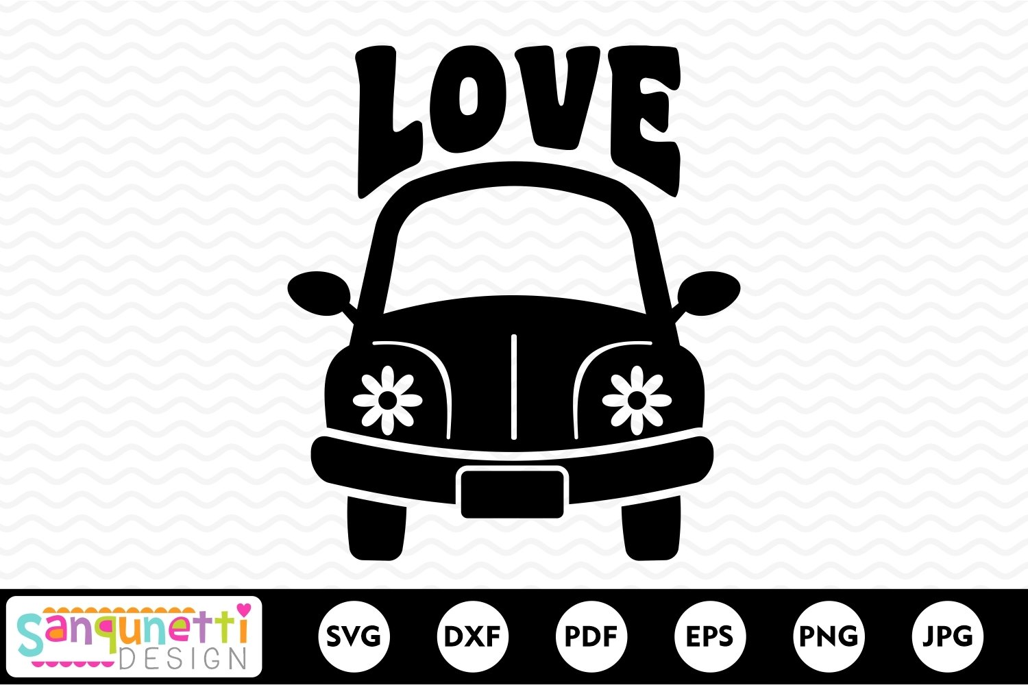Hippie car svg, peace and love svg example image 2
