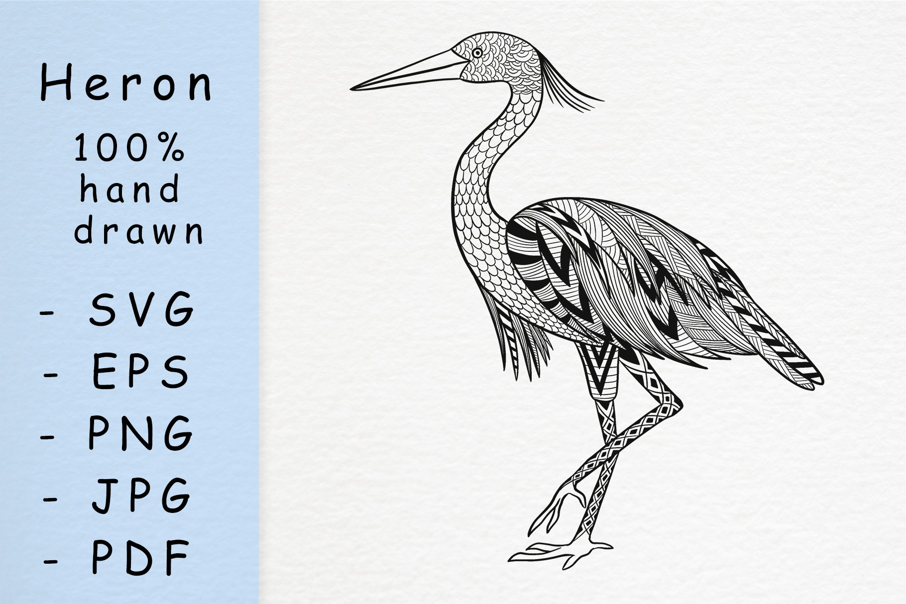 Hand drawn Heron with patterns example image 1