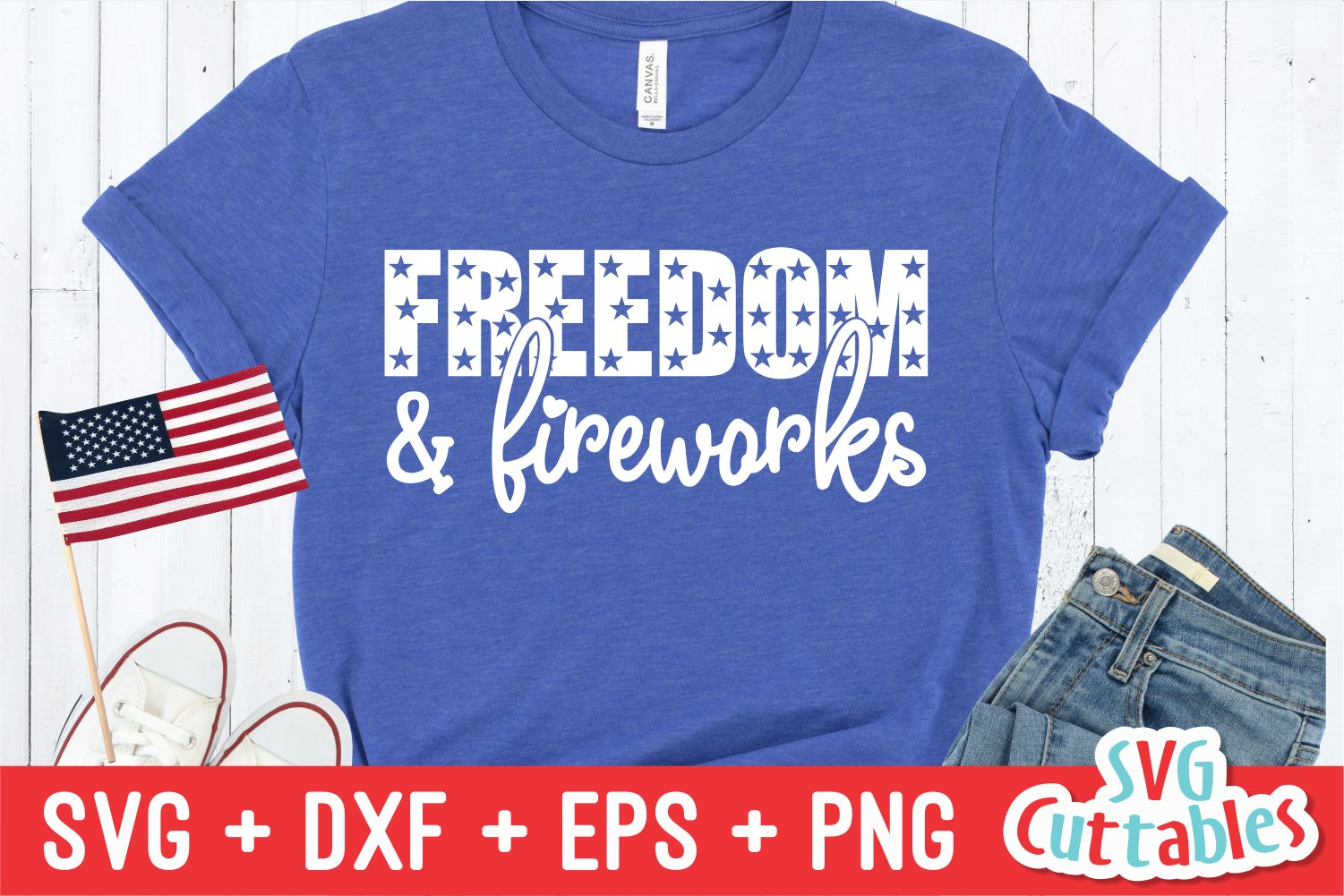 Freedom And Fireworks | Fourth of July SVG Cut File example image 1