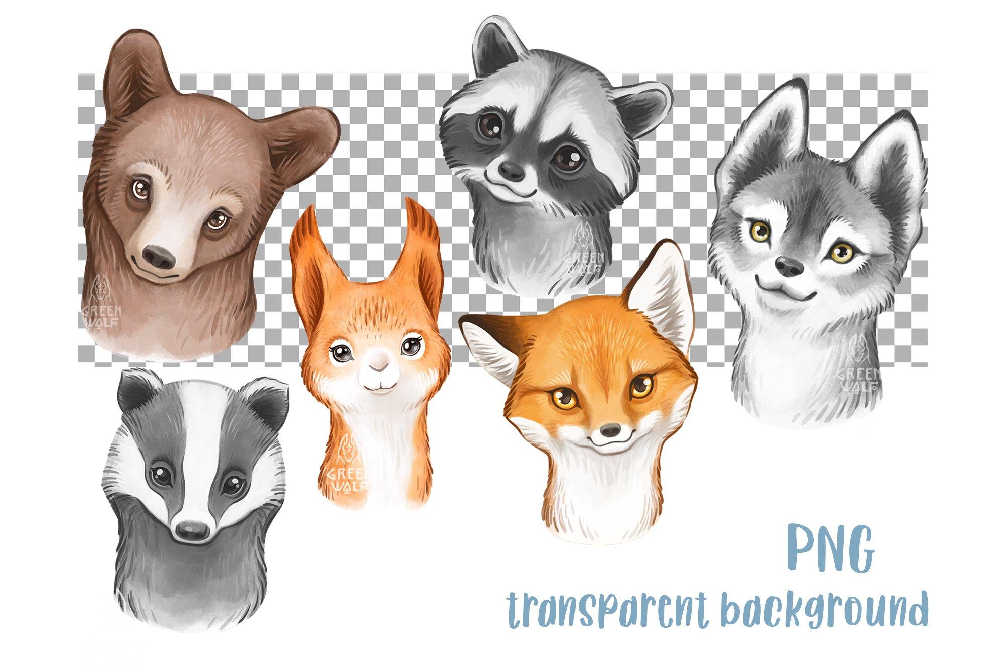 Watercolor woodland animals clipart bundle PNG Nursery decor example image 2