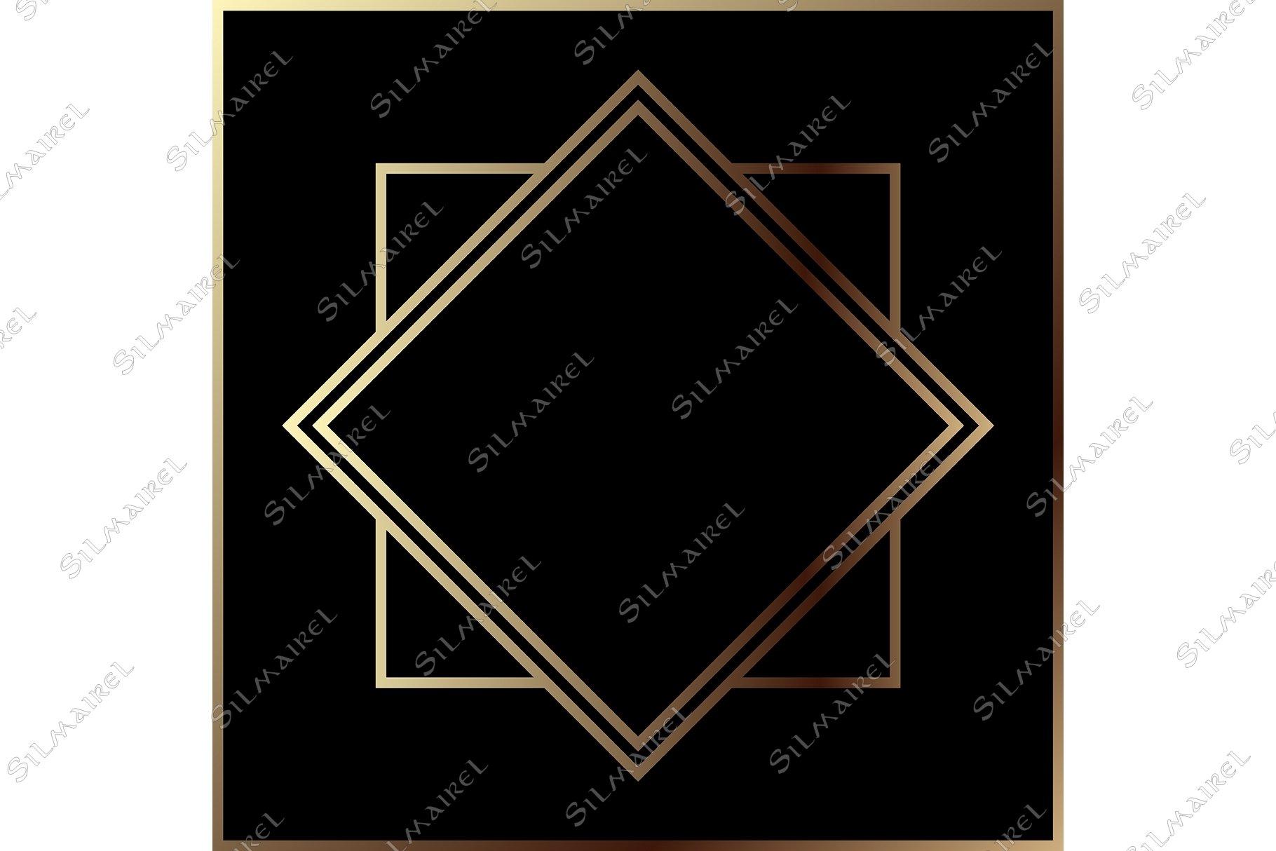 Download Art Deco Golden Geometric Metal Frame Border Retro Vintage 866024 Decorations Design Bundles