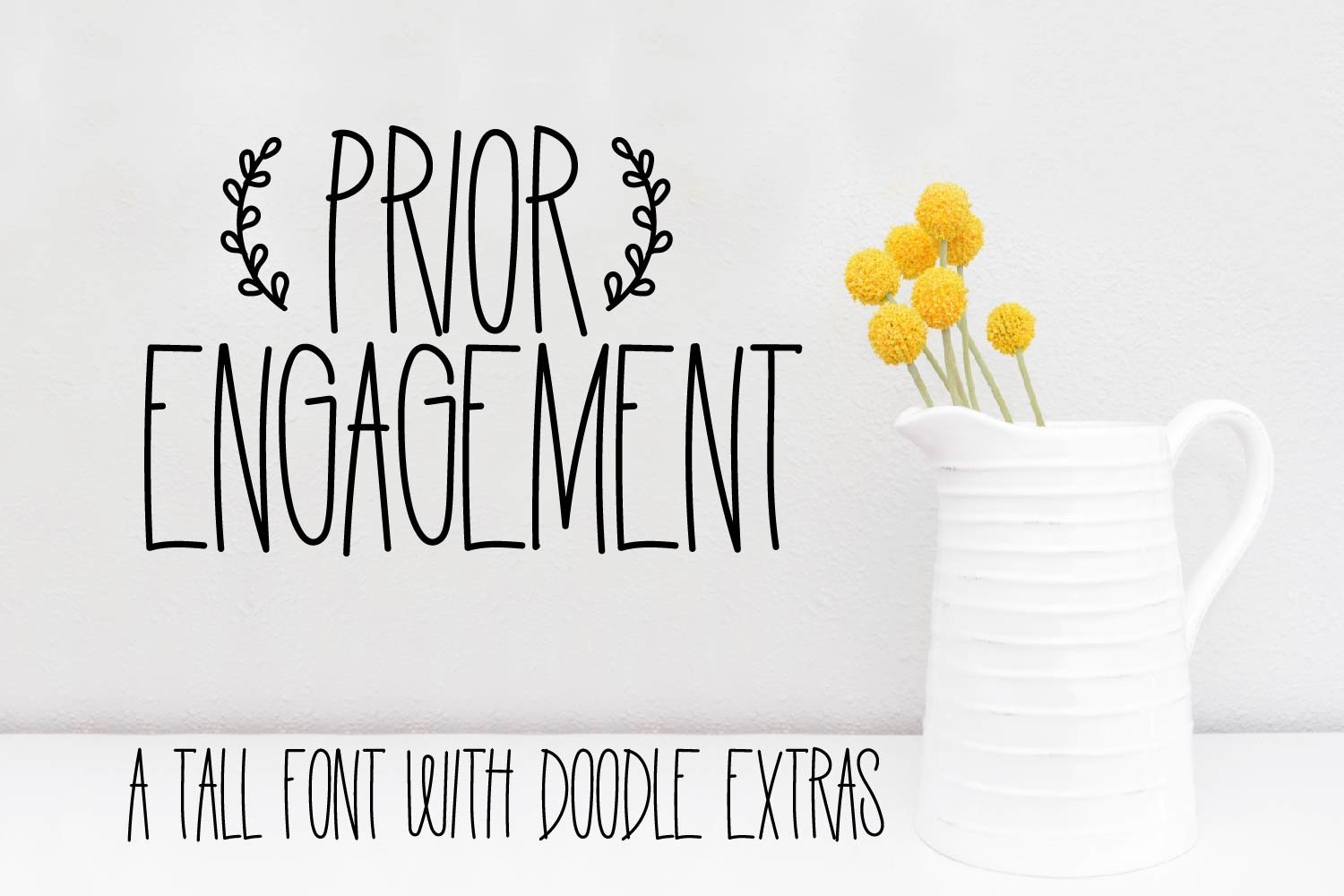 Prior Engagement - A Tall Font With Doodle Extras example image 1