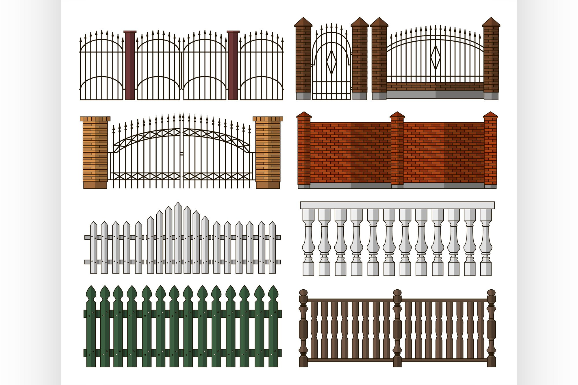Set of gates and fences example image 1