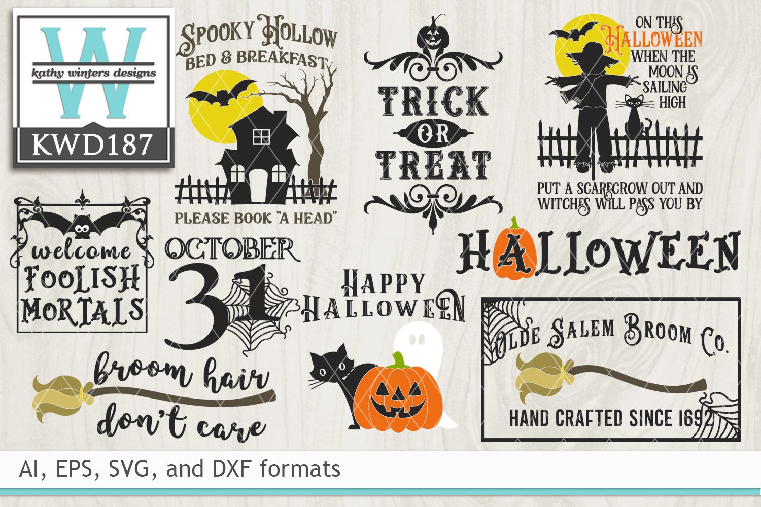 Bundled Halloween Cutting Files Kwd187 121640 Cut Files Design Bundles