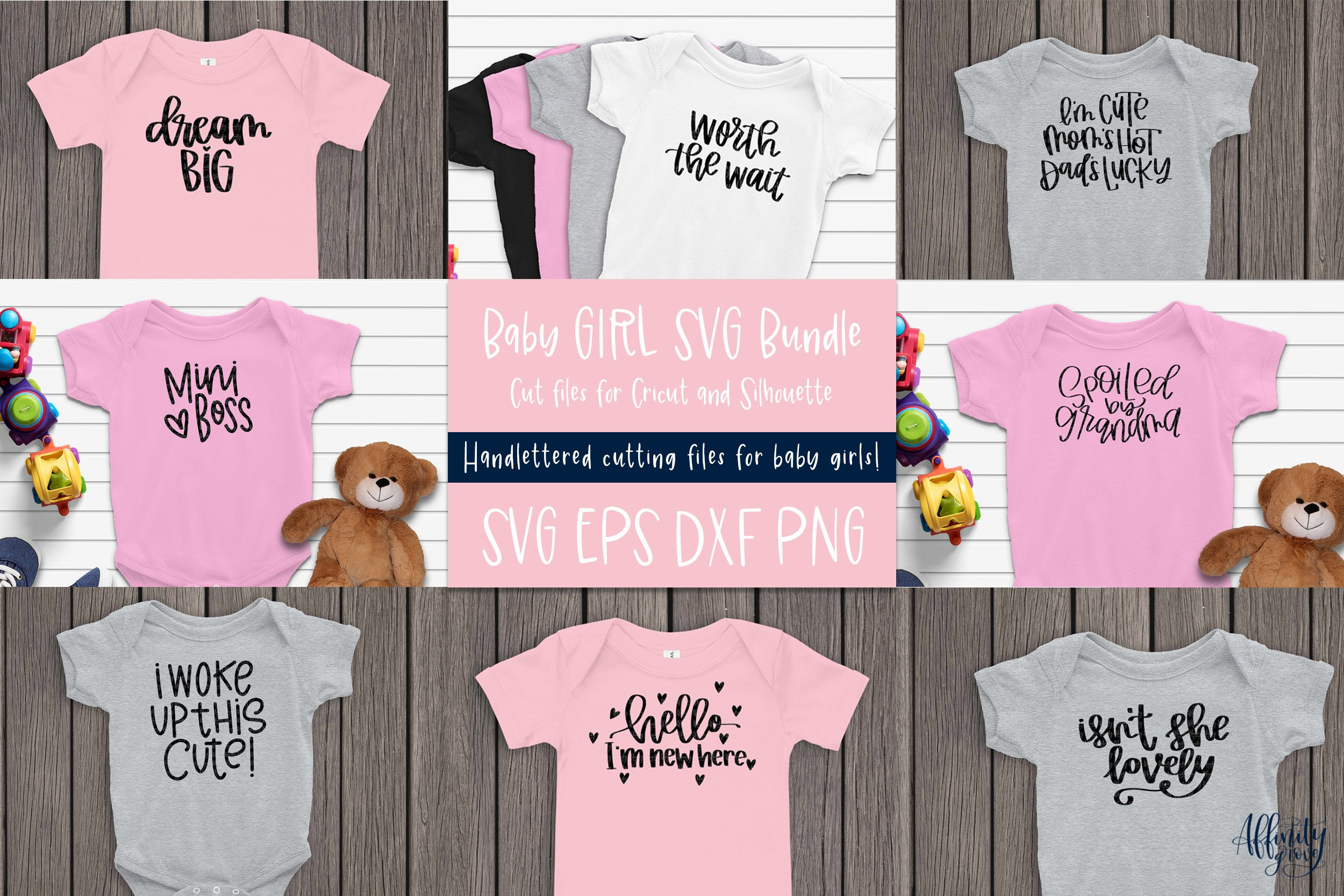 11+ Cute Onesie Bundle Svg Cut File, Newborn Svg, Eps, Png, Dxf Crafter Files