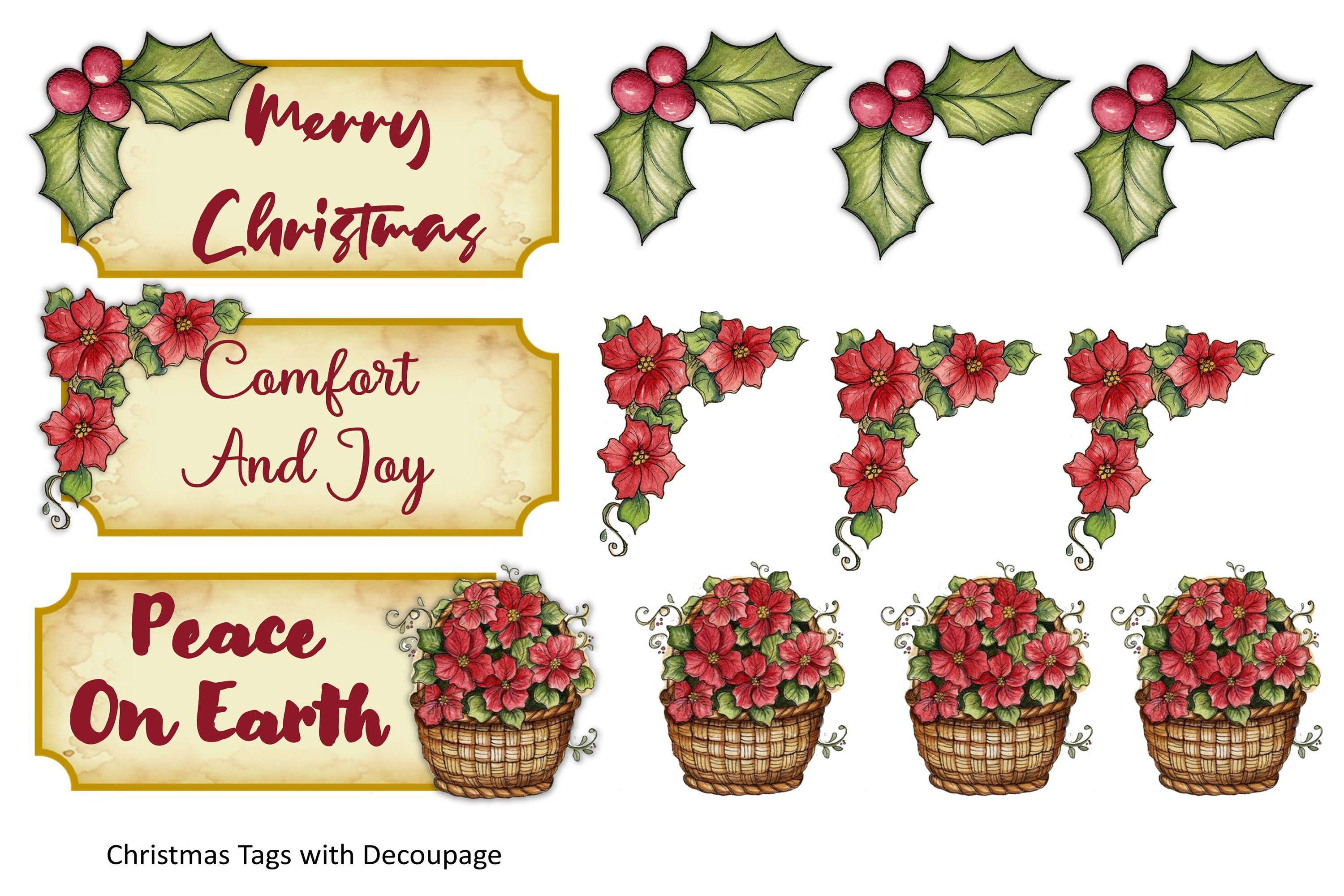 Victorian Christmas Backgrounds and Clipart JPEG PNG PDF example image 13