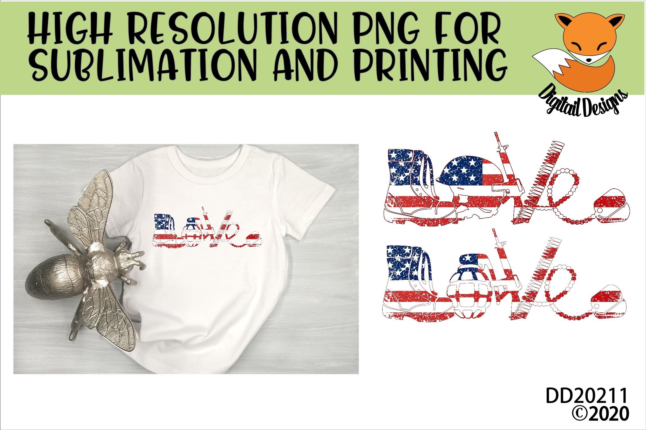 Military Army Love Stars And Stripes Sublimation example image 1