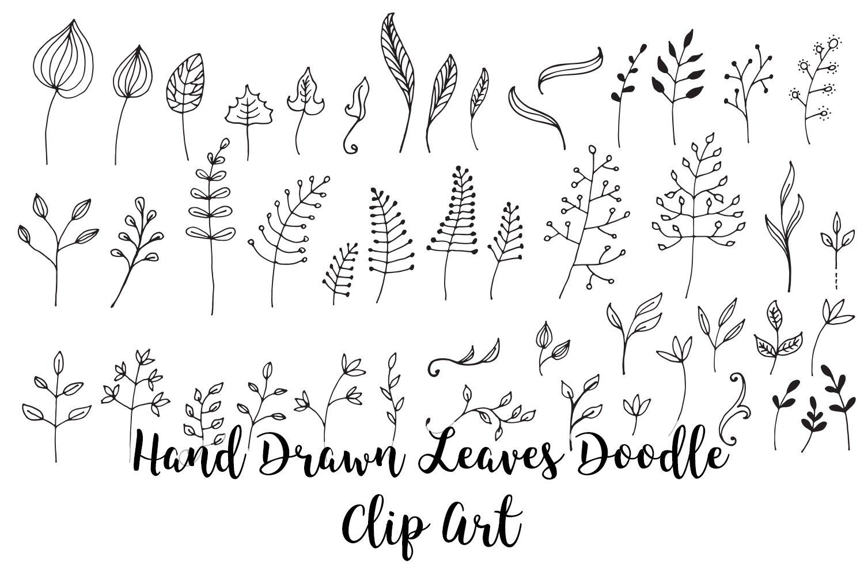 Hand Drawn Leaves Doodle Clip Art Vector Floral Clip Art 659478 Decorations Design Bundles