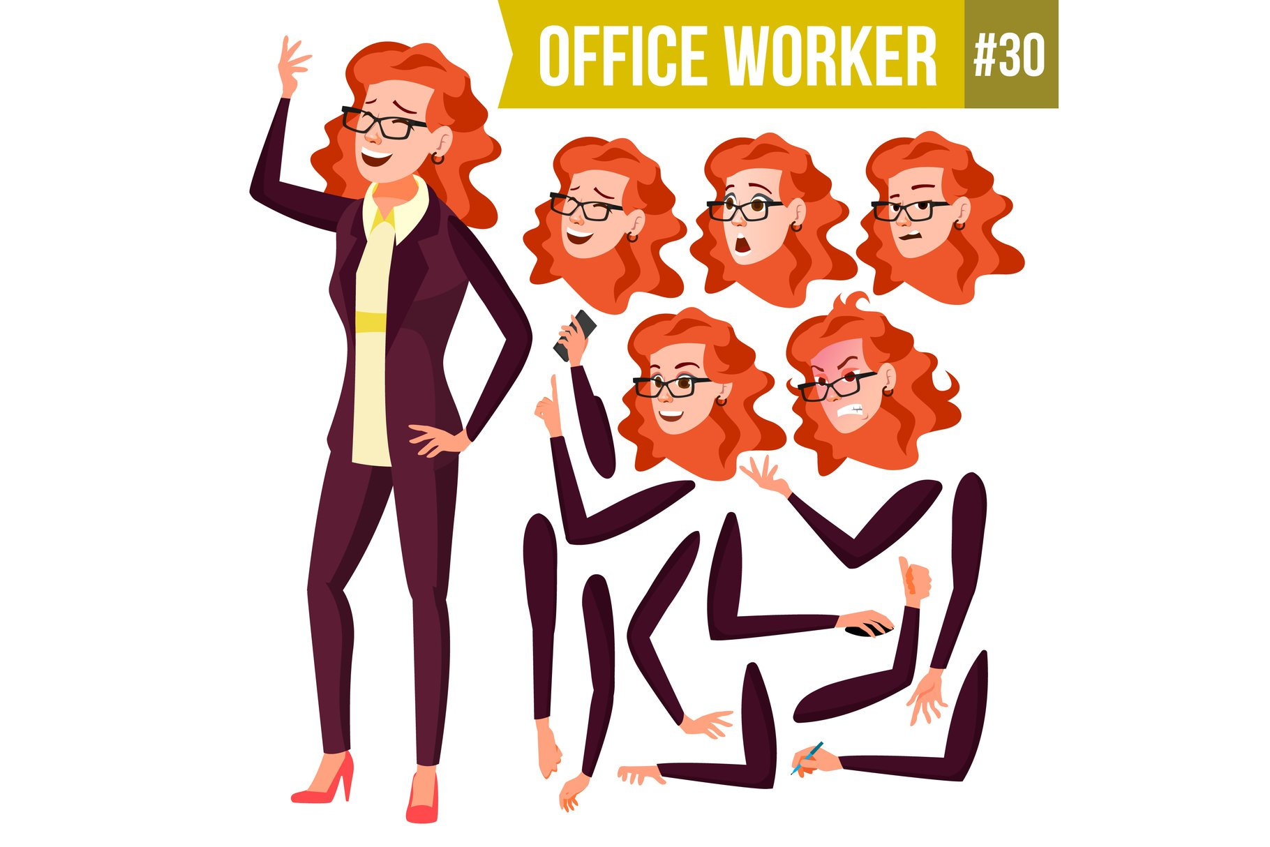 Office Worker Vector.Woman. Successful Officer, Clerk example image 1