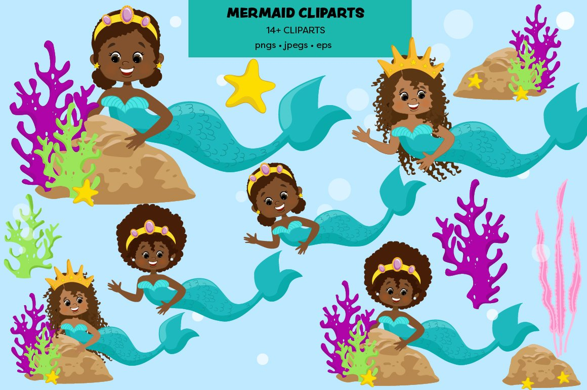 Mermaids Clipart Pack example image 2
