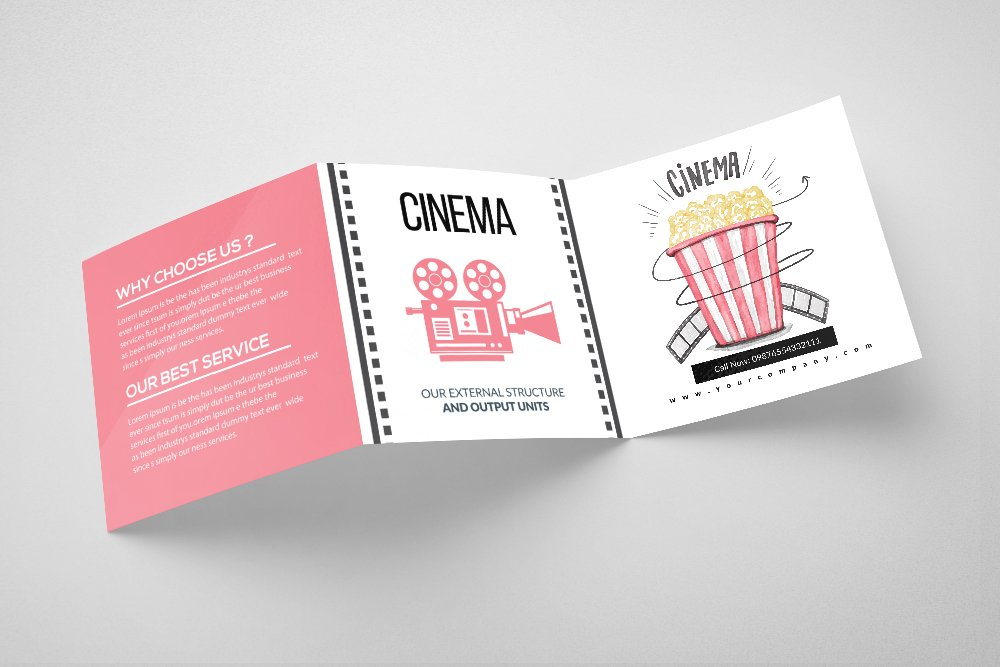 Cinema Movie Theater square Trifold Brochure example image 4