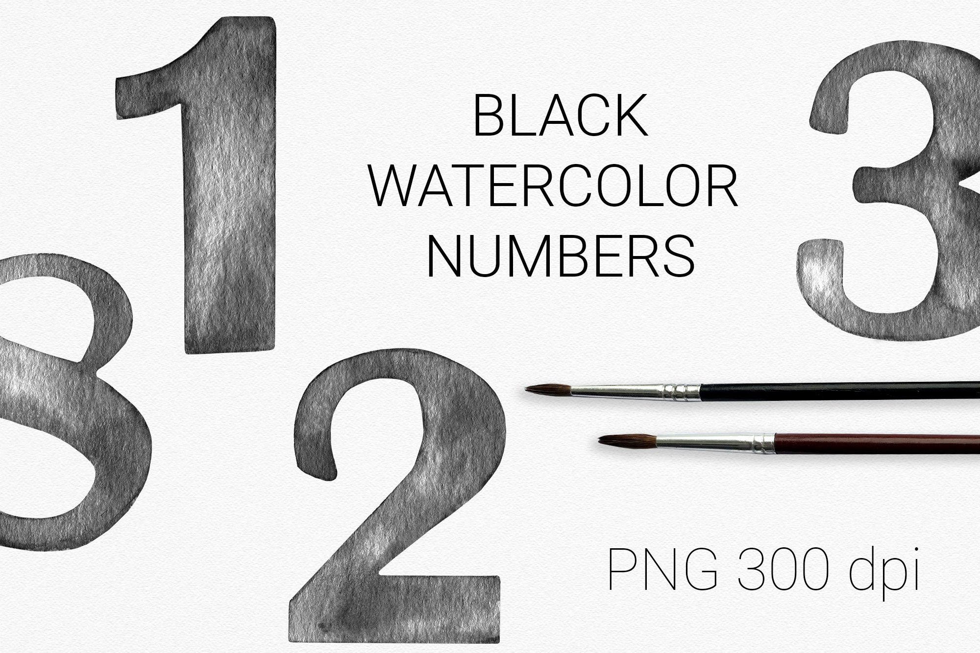 Black watercolor number cliparts with flower arrangements example image 2
