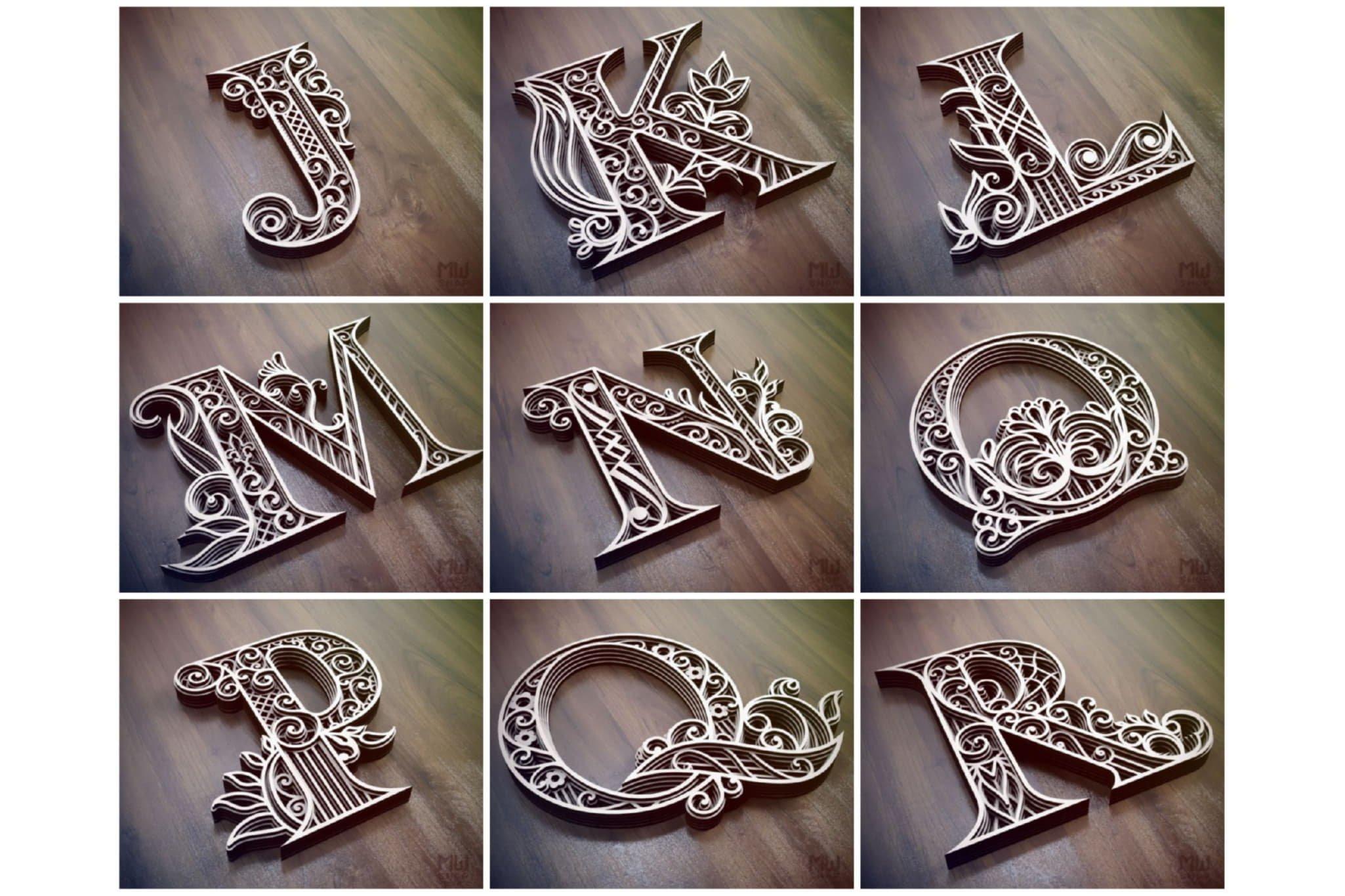 A-Z Layered Letters Bundle, Alphabet letters Bundle example image 2