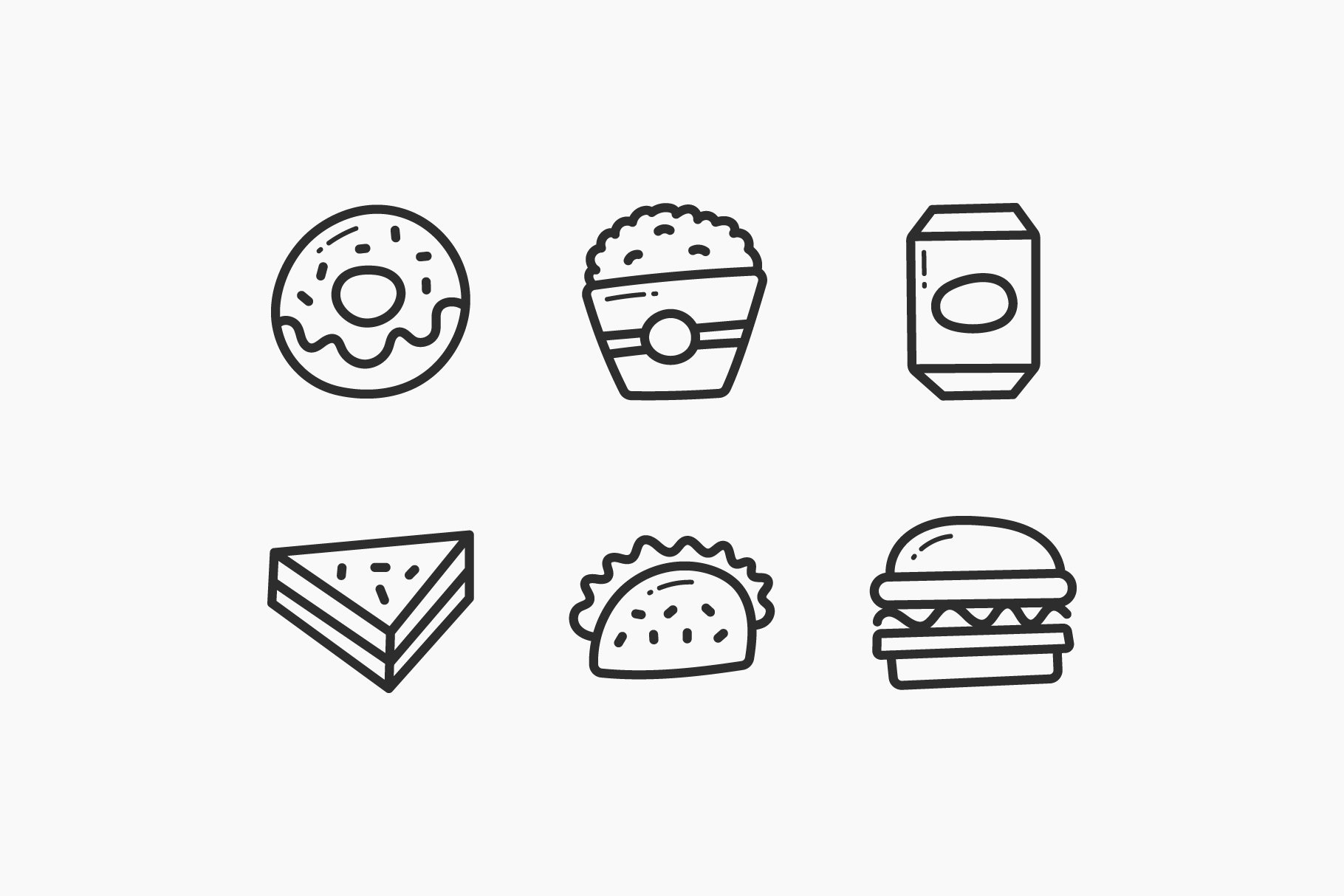 Fast Food Hand-Drawn Doodle Icons example image 3