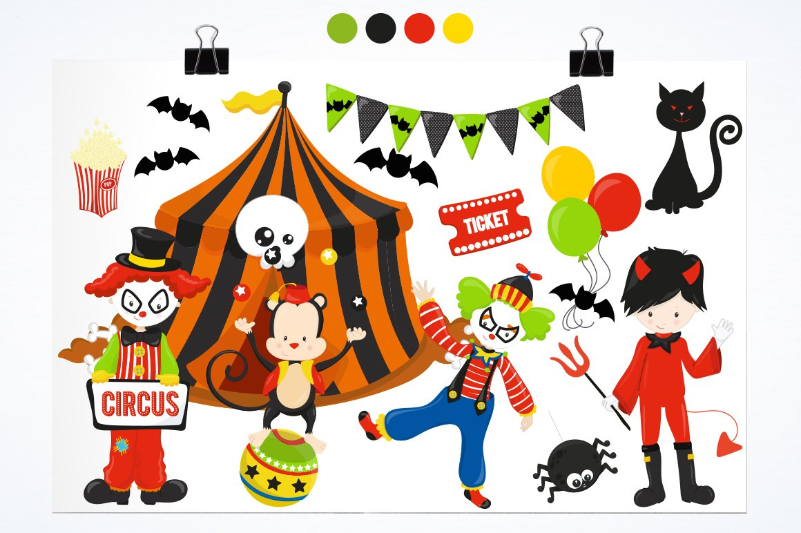 Halloween Circus Graphics and illustrations, vector example image 2