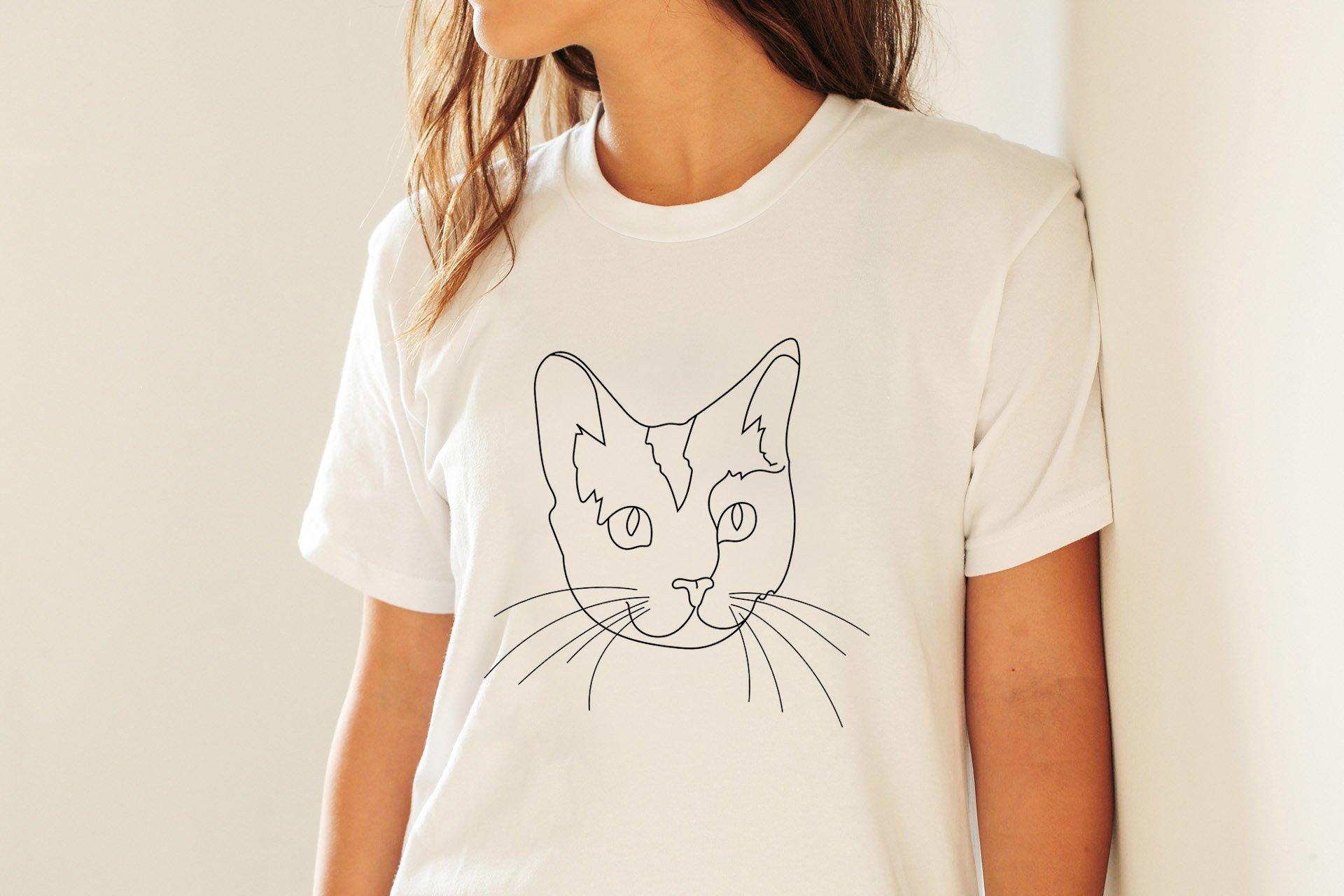 Cat Outline Sublimation Design - Modern Line Art example image 7