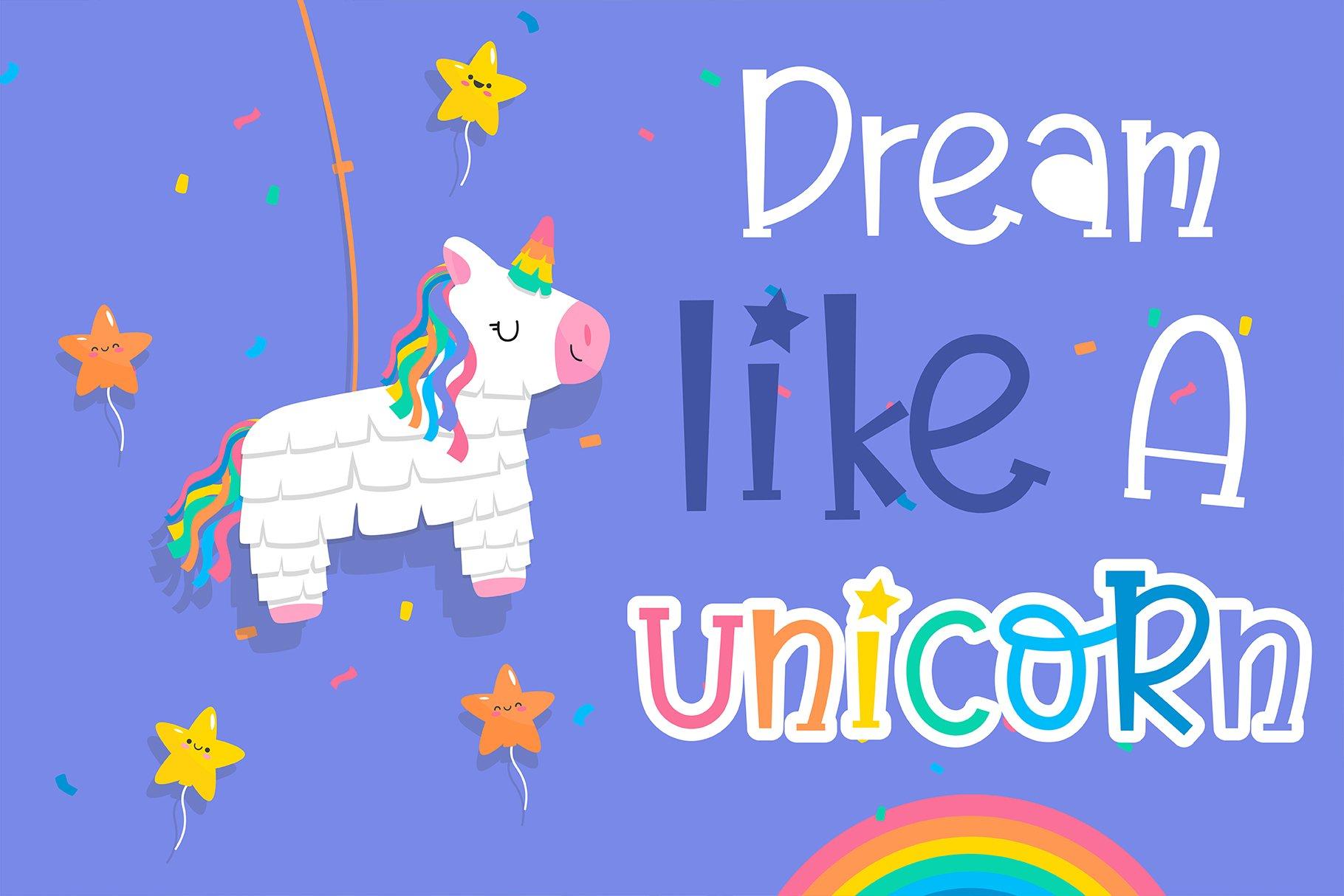 Believe in unicorn Handwriting- cute kid font Kawaii style! example image 4
