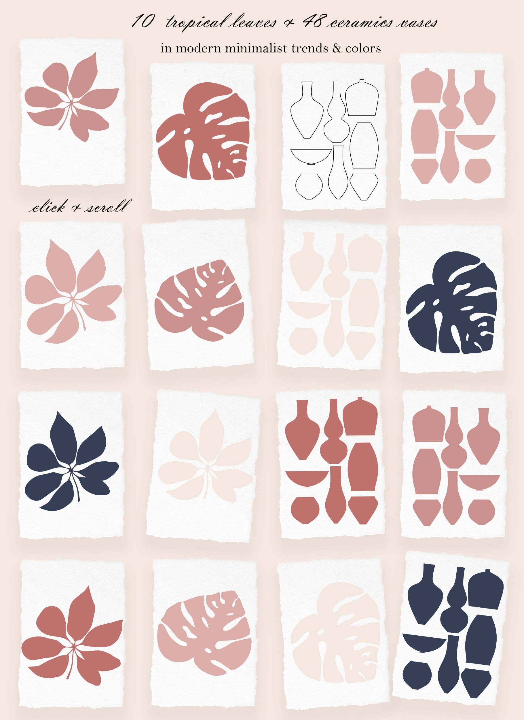 Abstract Collection CREAMY BlUSH & NAVY BLUE bundle prints example image 3