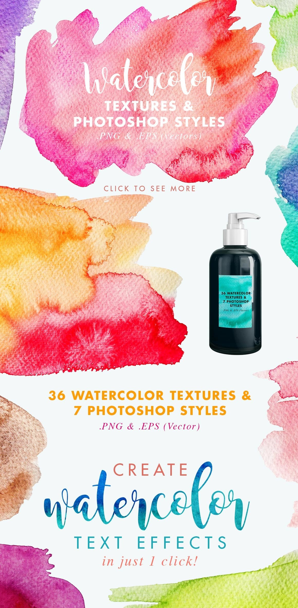 Vector & JPG Watercolor Textures & Photoshop Effect Styles example image 4