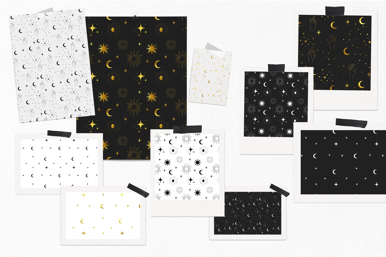 Moon digital paper, Celestial seamless pattern example image 5