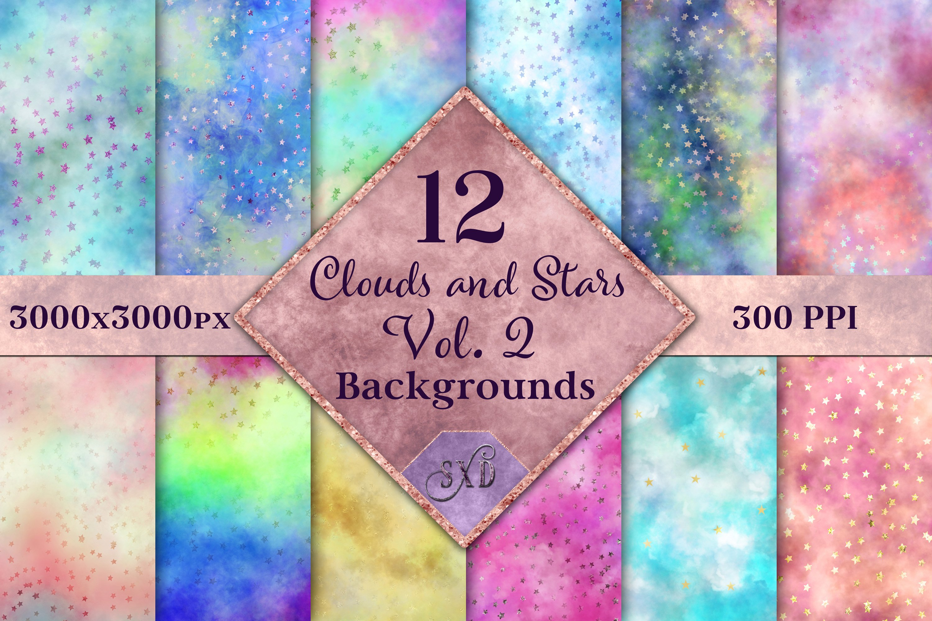 Clouds and Stars Vol. 2 Backgrounds - 12 Image Textures Set example image 1