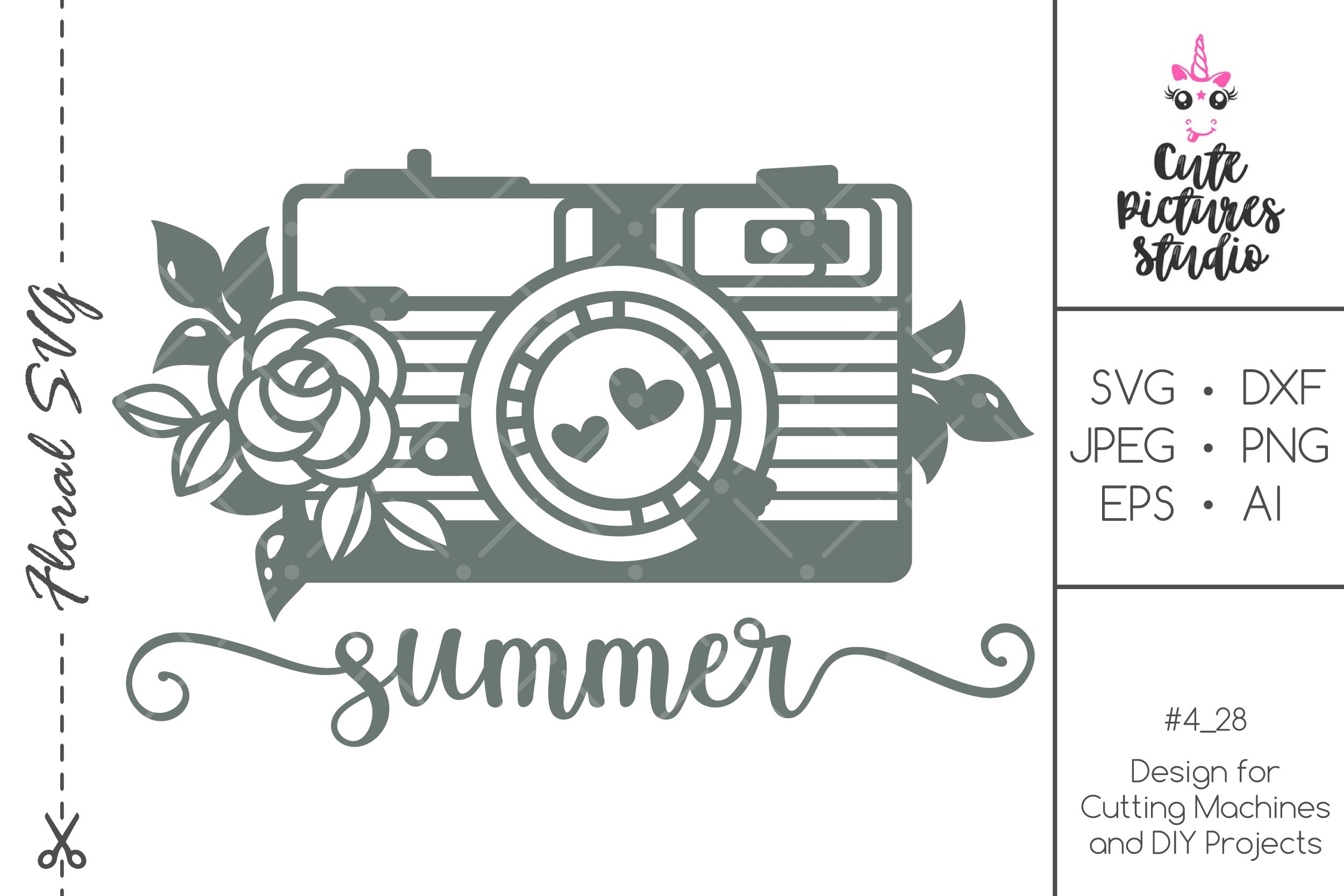 Floral Photo Camera svg Cricut cut file, Photographer svg example image 1